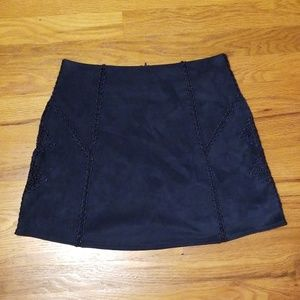 Blue suede skirt